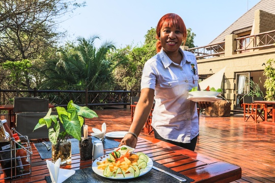 Light meals are served all day in Bar, Deck, Restaurant and Boma area