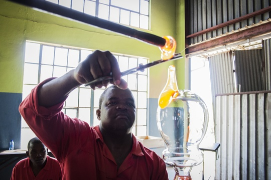 Glassblowing and Glass Making from Recycled Glass